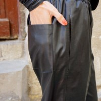 Pants - Loose Blacк Faux Leather Black Pants A05265