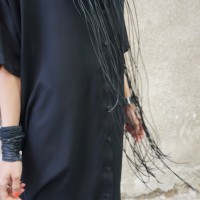 Extravagant Black Leather Beads and Steel  Macramé Necklace