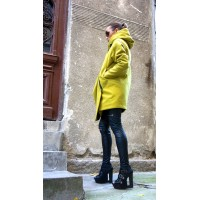 Asymmetric Quilted Coat with a Hood