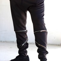 Black Loose Casual Drop Crotch Detachable Pants A05233M
