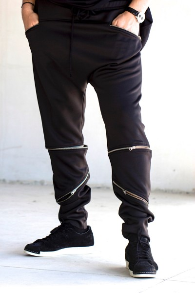 Black Loose Casual Drop Crotch Detachable Pants A05233M