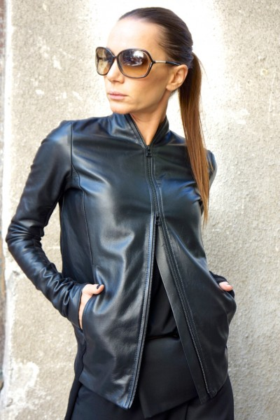 Extravagant Black Genuine Leather Coat A20361