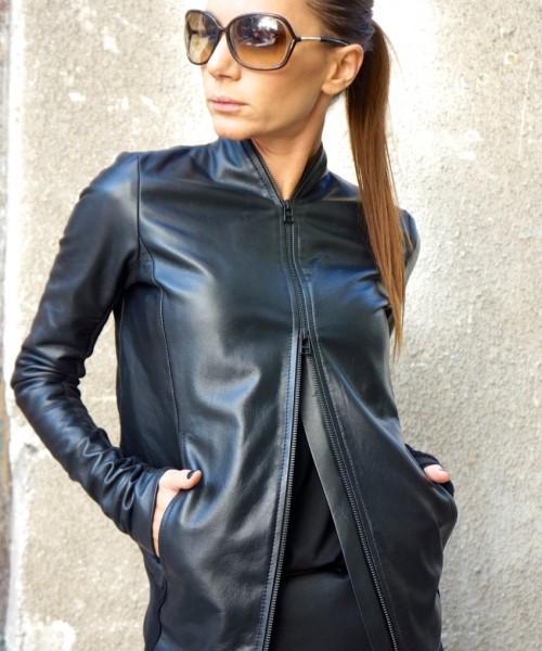 Extravagant Black Genuine Leather Coat A20361