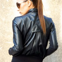 Extravagant Black Genuine Leather Coat