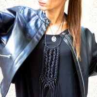 Extravagant Extra Long Black Leather Macramé Necklace with Wooden Beads