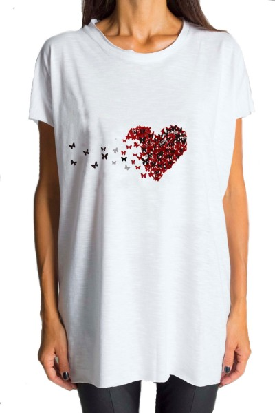White Heart Printed Tee A224000134