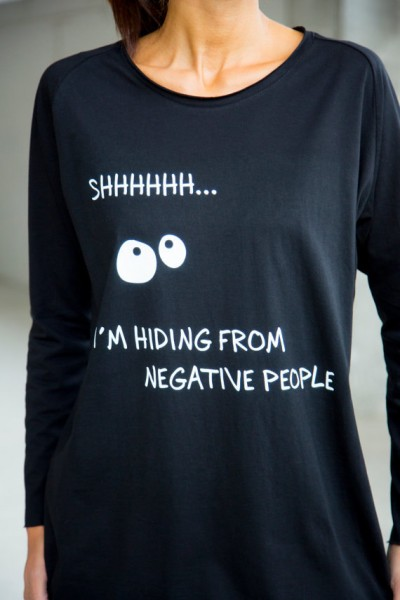 """Black Cotton  """" I'm hiding from negative people"""" Tee A22400"""