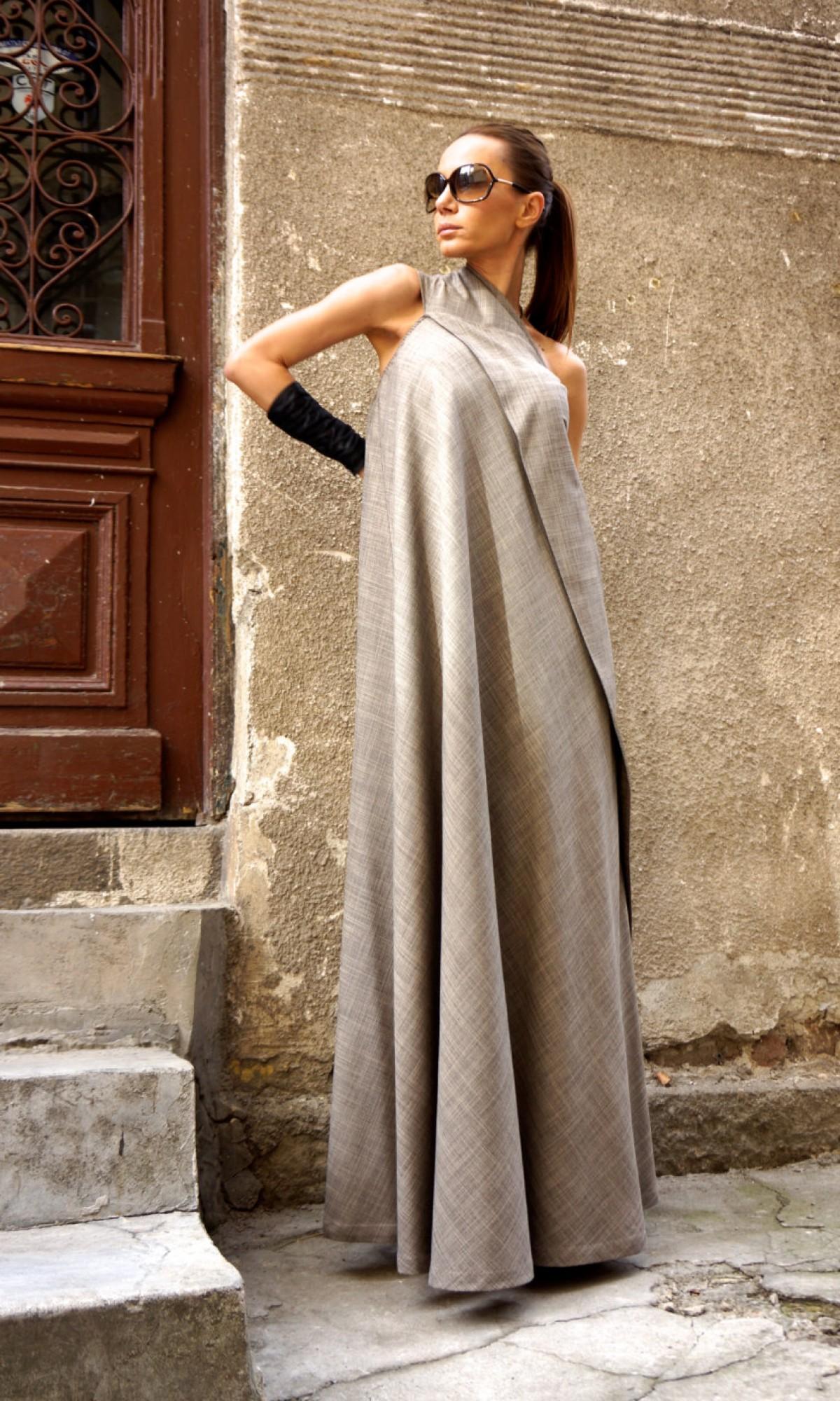Dresses - One Shoulder Melange Beige Dress A03380