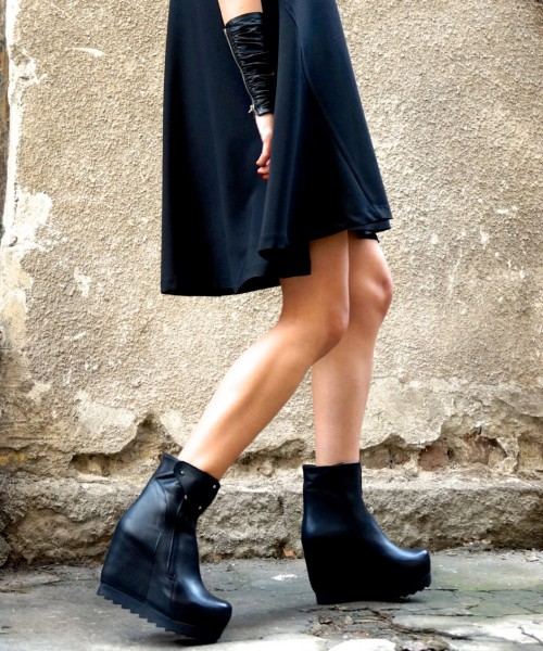Black Genuine Leather Ankle Boot Wedges A21388