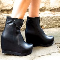 Black Genuine Leather Ankle Boot Wedges
