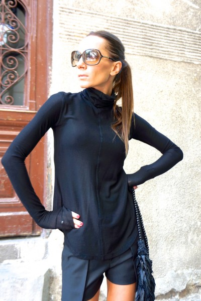 Sexy Black Turtle Neck Tencel Top A08396