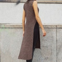 Sales - High Collar Knit Dress with side slits A02420