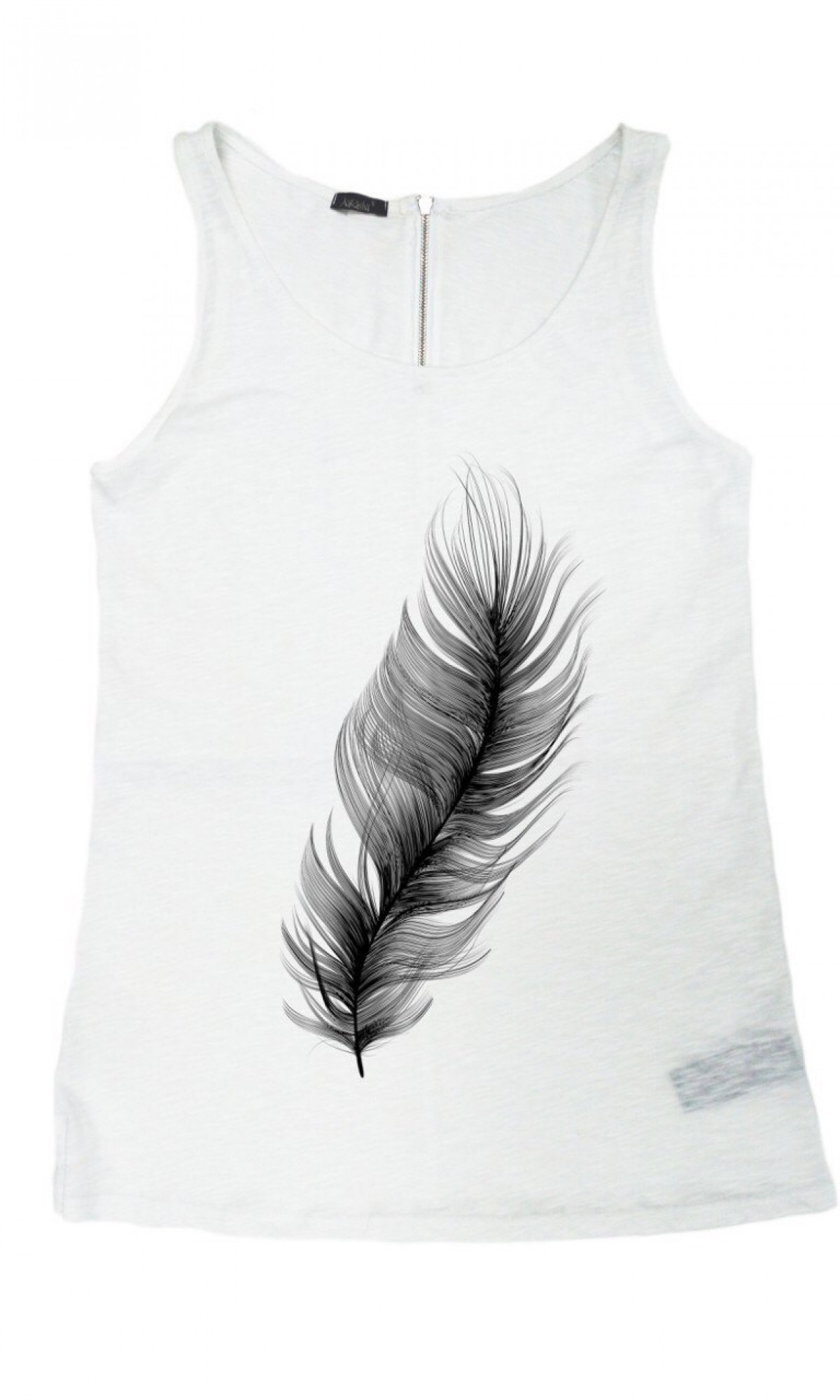 "Printees - White Gentle as a ""Feather "" Tank Top A044020323"