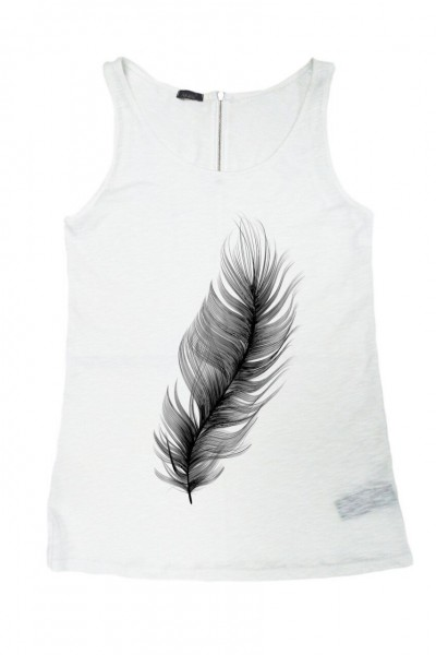 "White Gentle as a ""Feather "" Tank Top AA044020323"