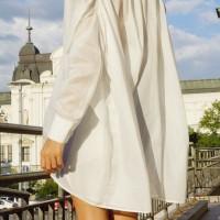 Shirts - White Loose Asymmetric Shirt A11208