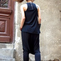 Loose Casual Black Harem Pants A05463