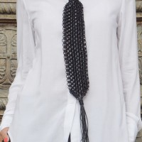 Extravagant Extra Long Black Leather  Macramé Tie Necklace