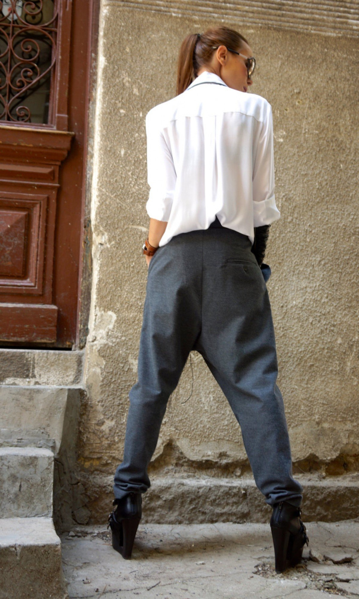 Charcoal Drop Crotch Pants A05461