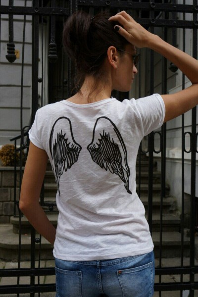 "White Cotton  ""Angel Wings"" Back Print Tee A224330326"
