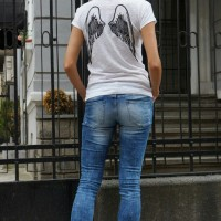 "Printees - White Cotton ""Angel Wings"" Back Print Tee A224330326"
