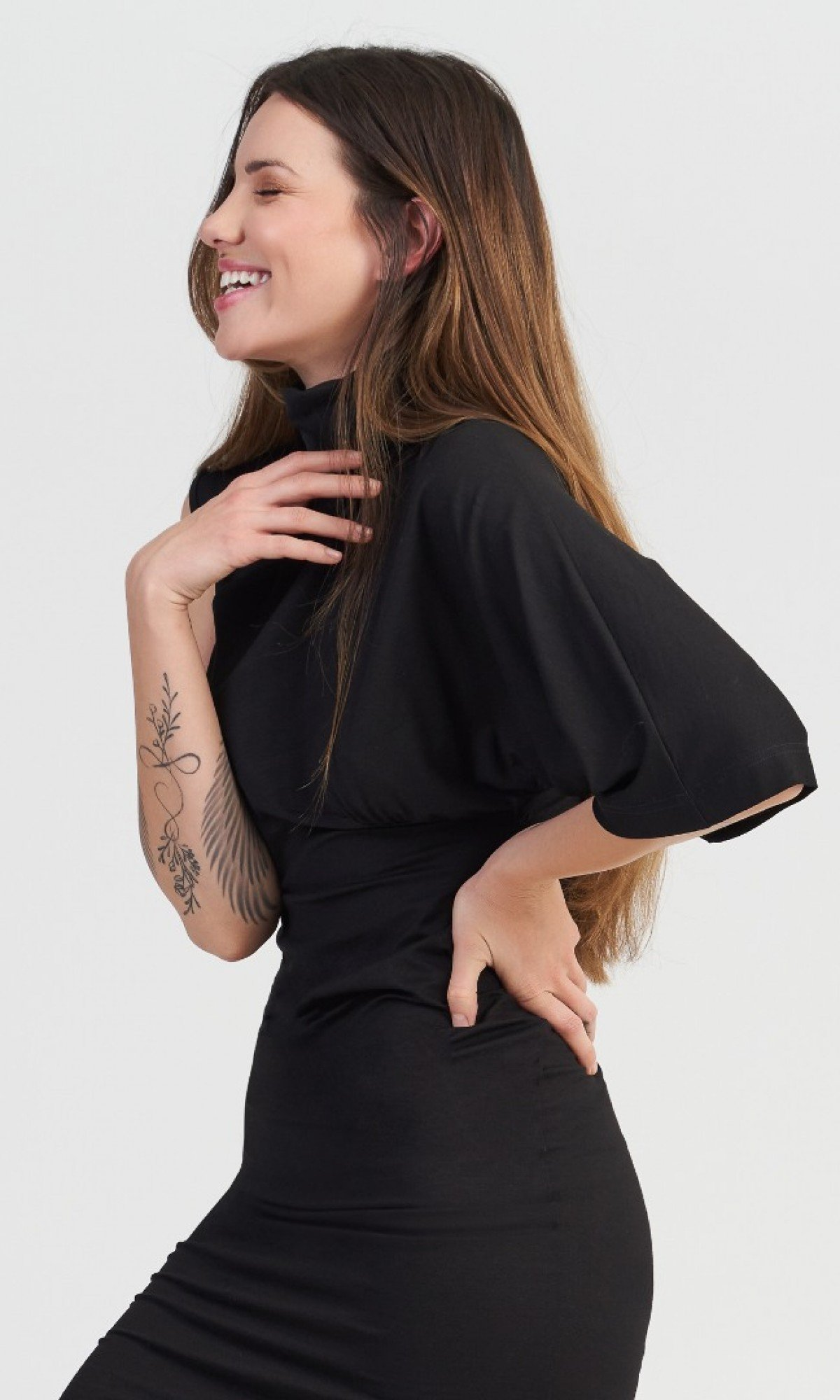 Asymmetric Sleeves Mini Black Dress