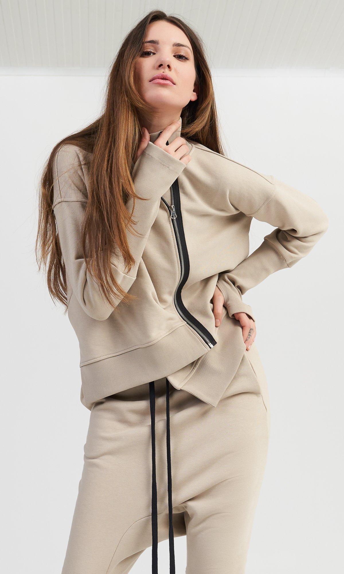 Asymmetric Zipper Sweatshirt & Pants Set