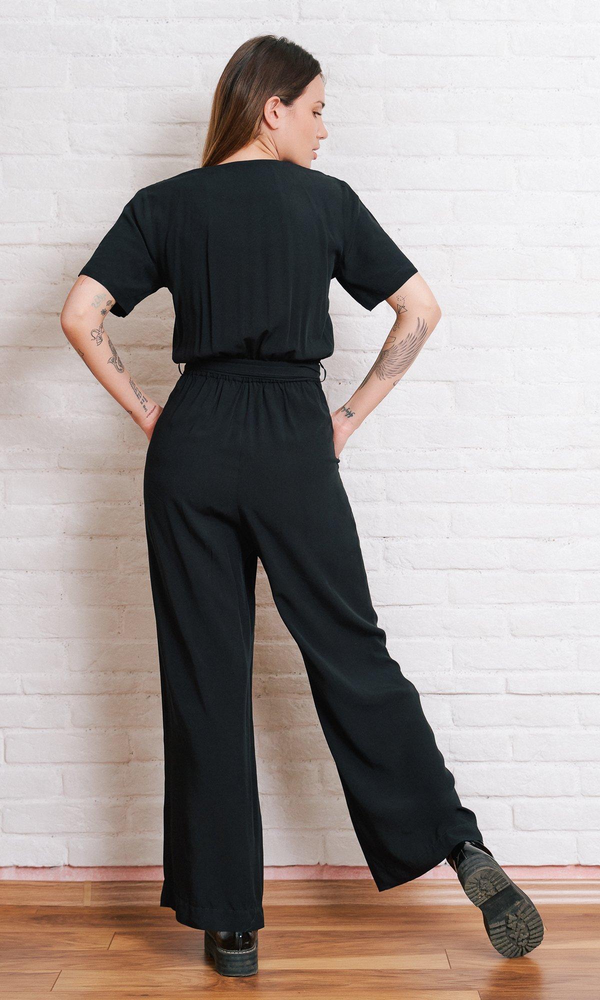 Wide Leg Jumpsuit With Ribbon Belt
