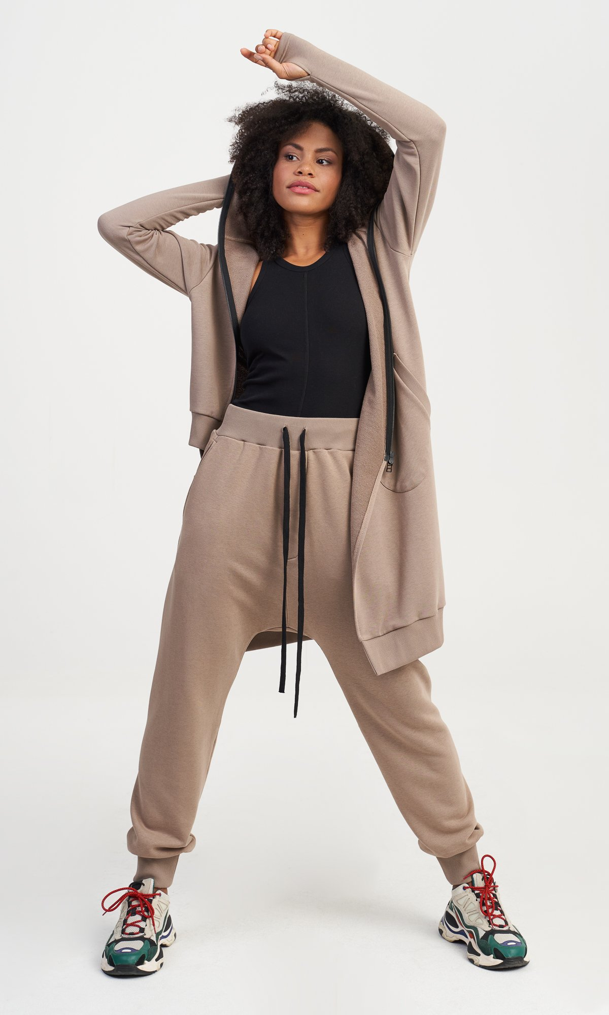 Drop Crotch Pants With Ribbed Details