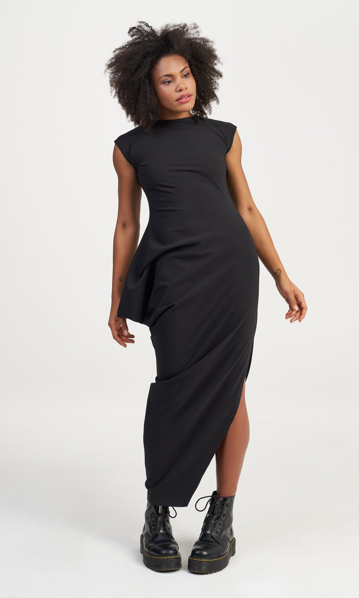 Long Asymmetric Draped Dress