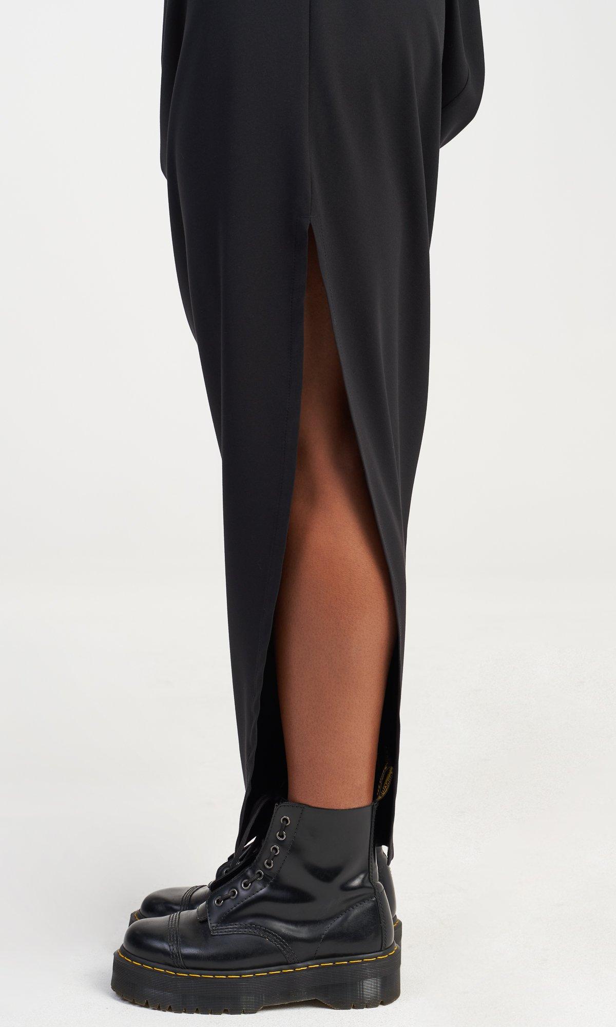 Long Asymmetric Draped Dress