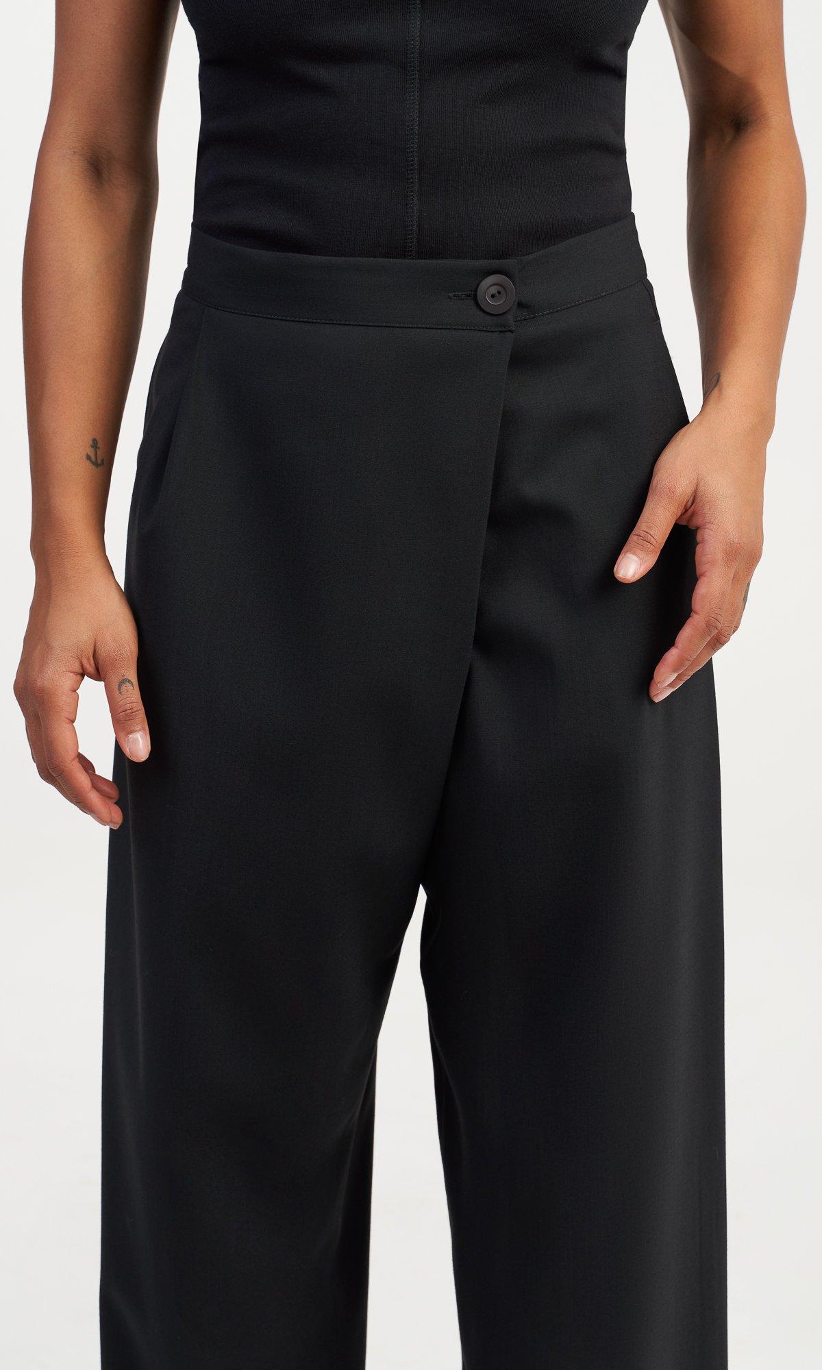 Overlapping High Waist Crop Pants