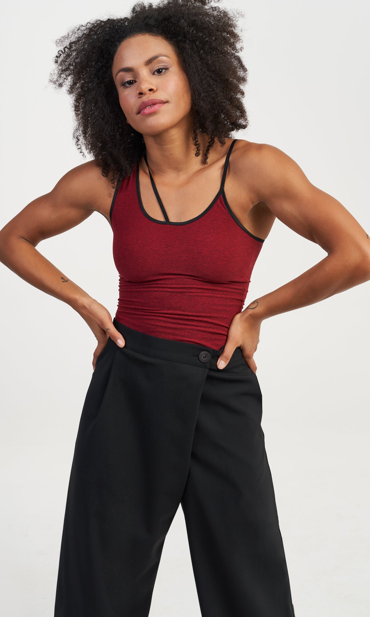 Asymmetric Shoulder Straps Tank Top