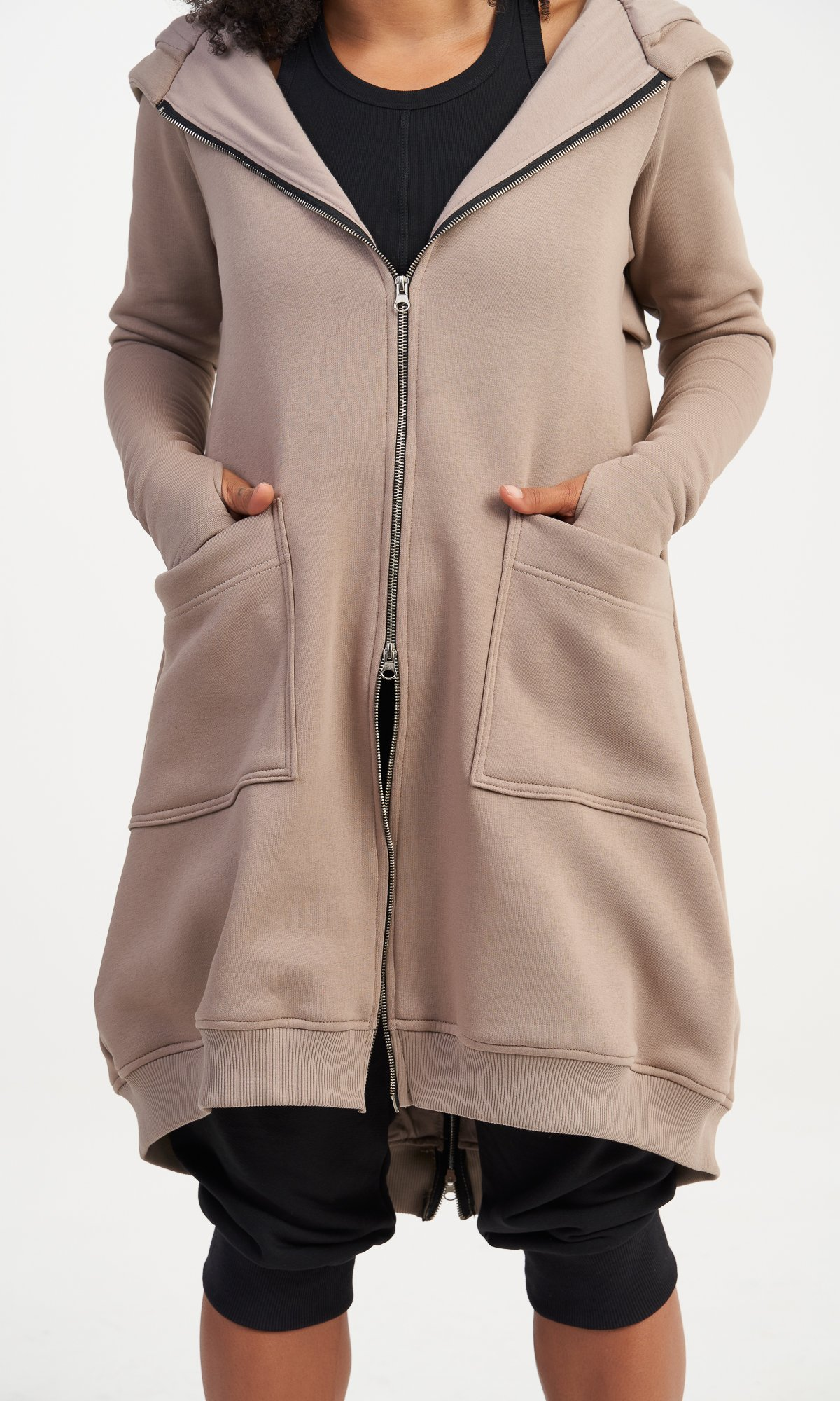 Long Zipper Hooded Sweatshirt
