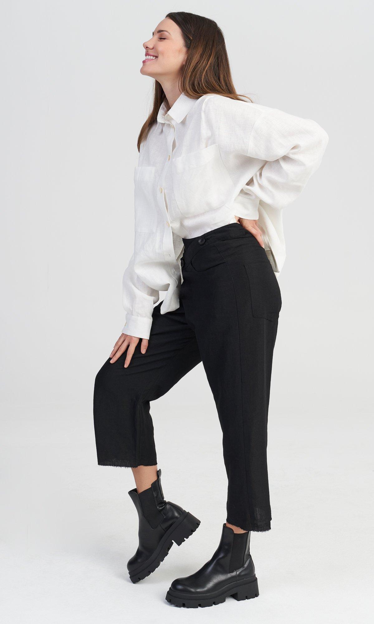 Overlapping Linen Crop Pants