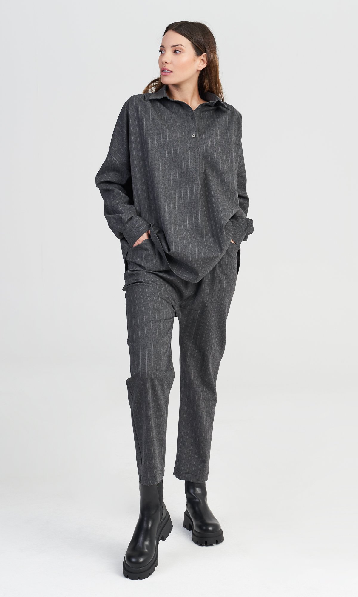 Grey Chalk Stripe Shirt