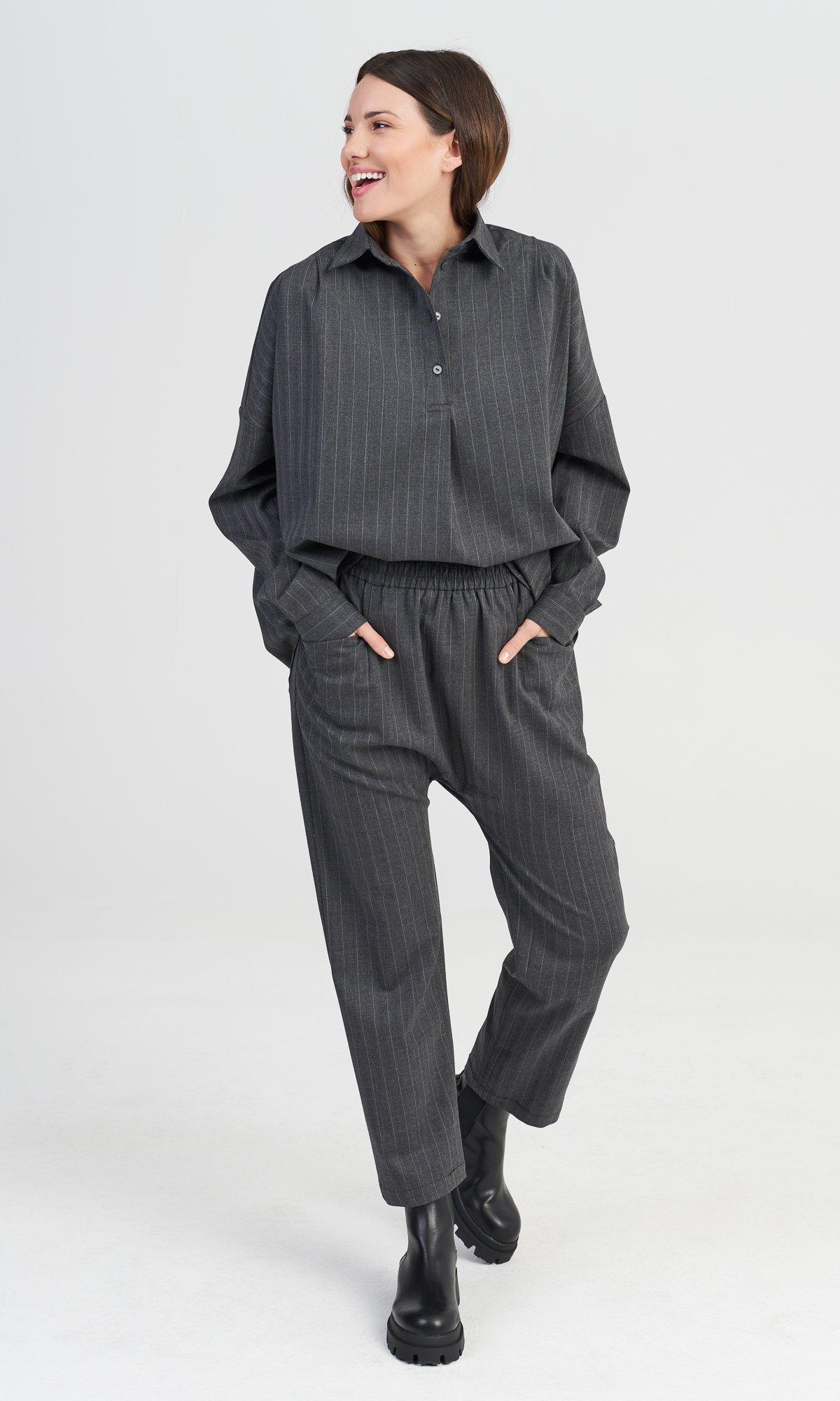 Grey Chalk Stripe Pants