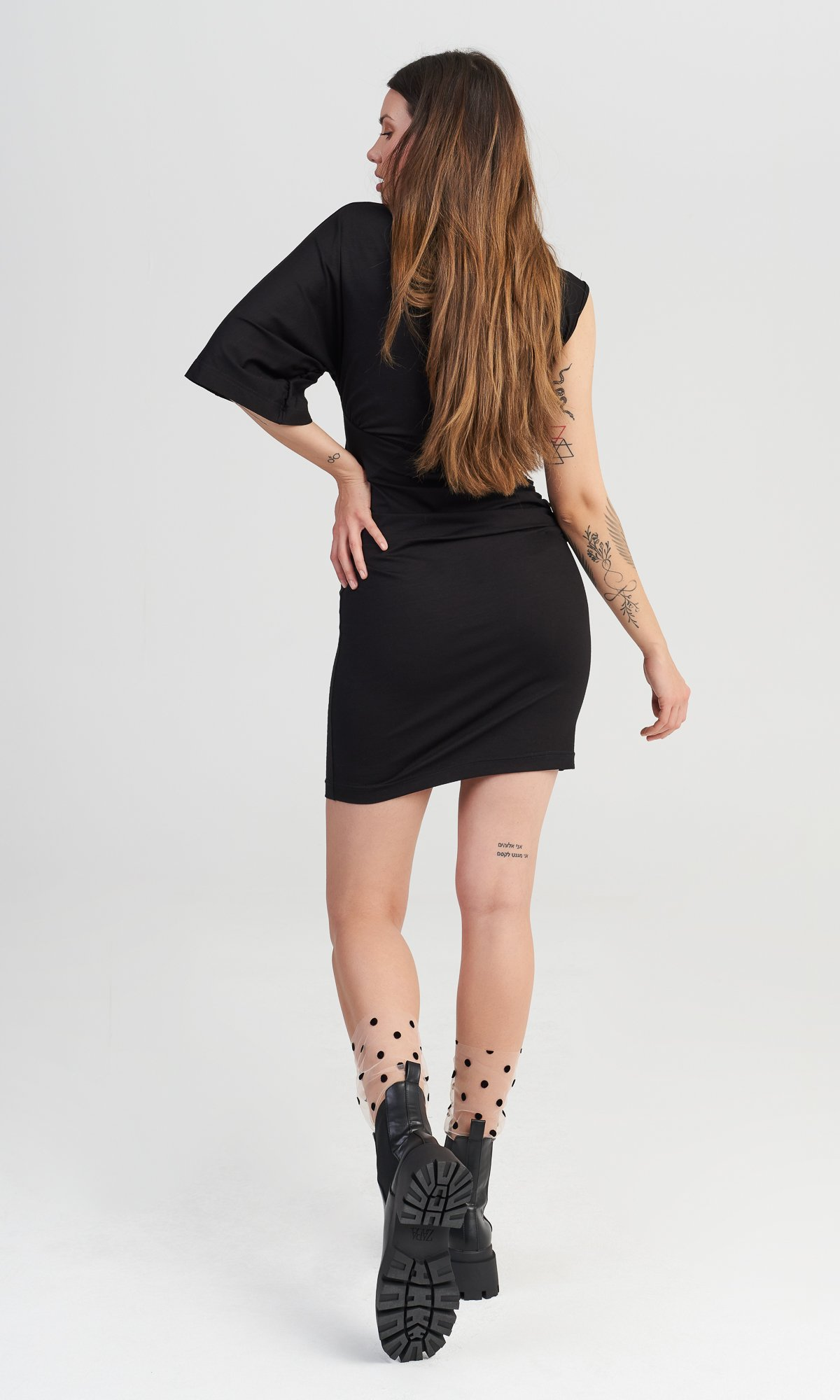 Mini Dress with Asymmetric Sleeves