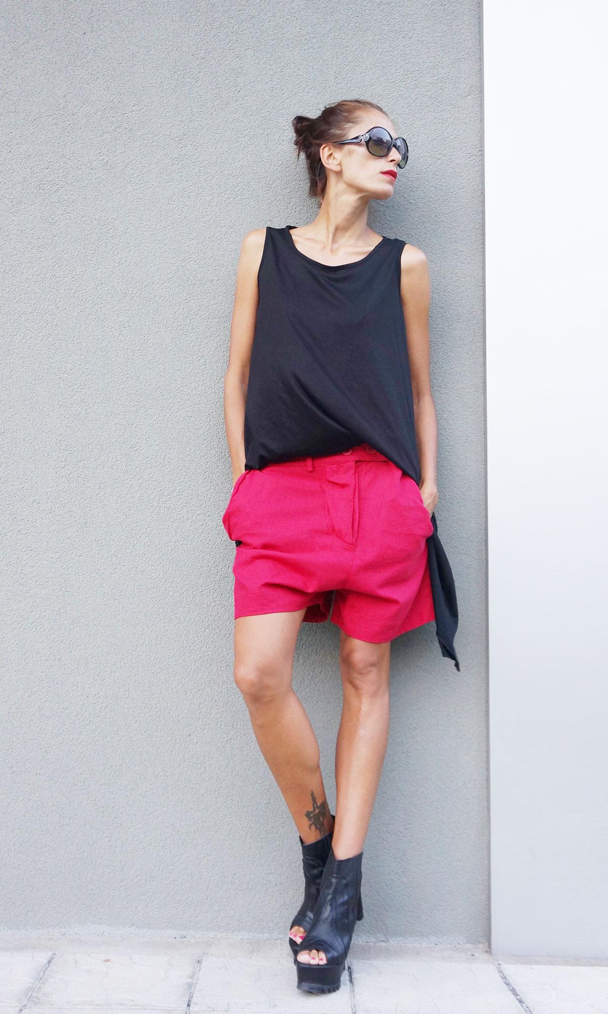 Loose Linen Drop Crotch Shorts A05460