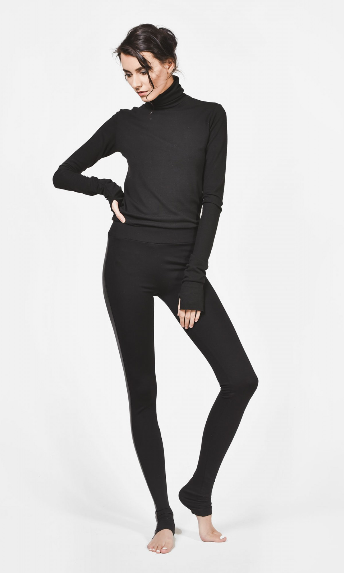 Black Extra Long Leggings with Faux Leather Sides A05510