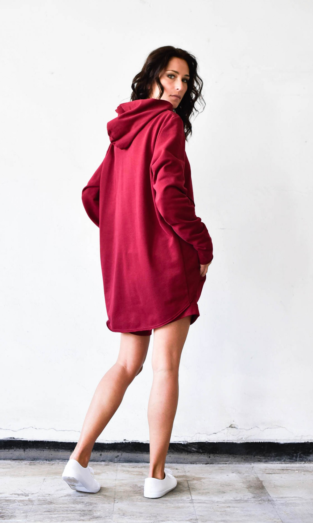 Asymmetric Long Sleeves Hooded Sweatshirt  A12239