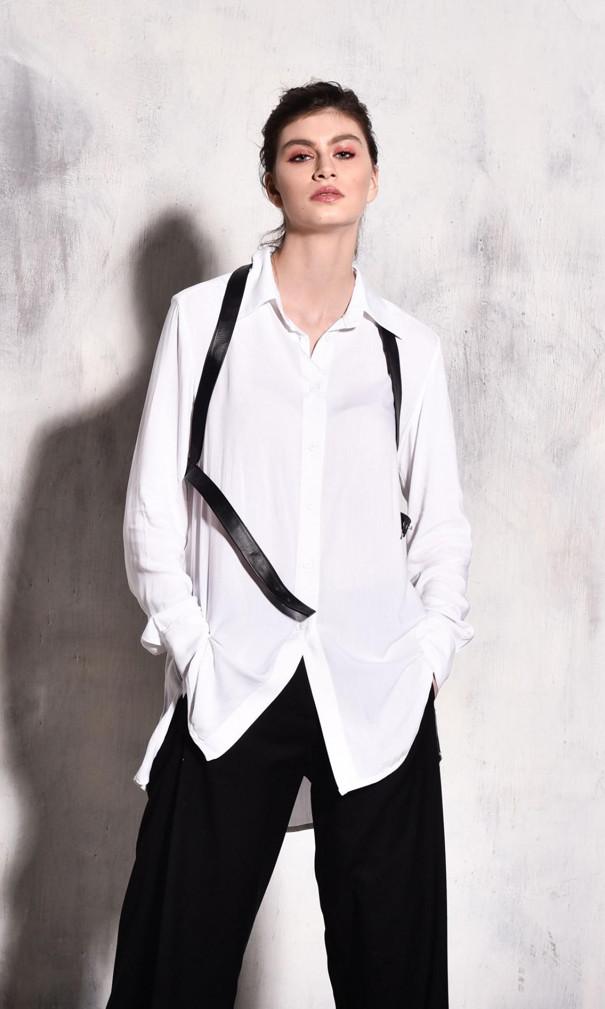 Black Leather Harness Vest A16219