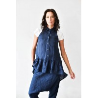 Aakasha New Sleeveless Linen top with frills A90287