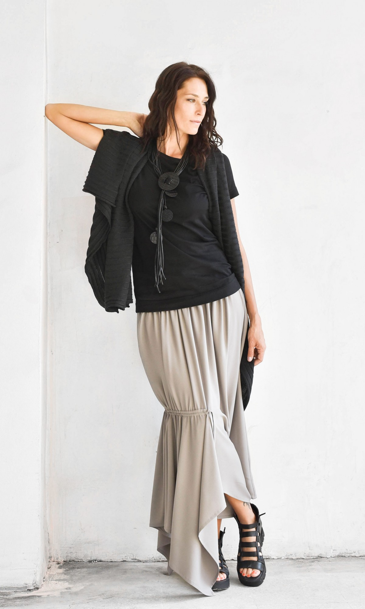 Asymmetric Elegant  Long Skirt A09369